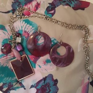 Purple necklace & earrings